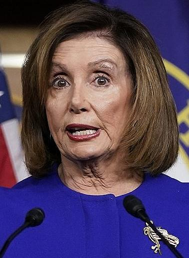 Pelosi forked tongue demons in mouth speaking with her tongue sized