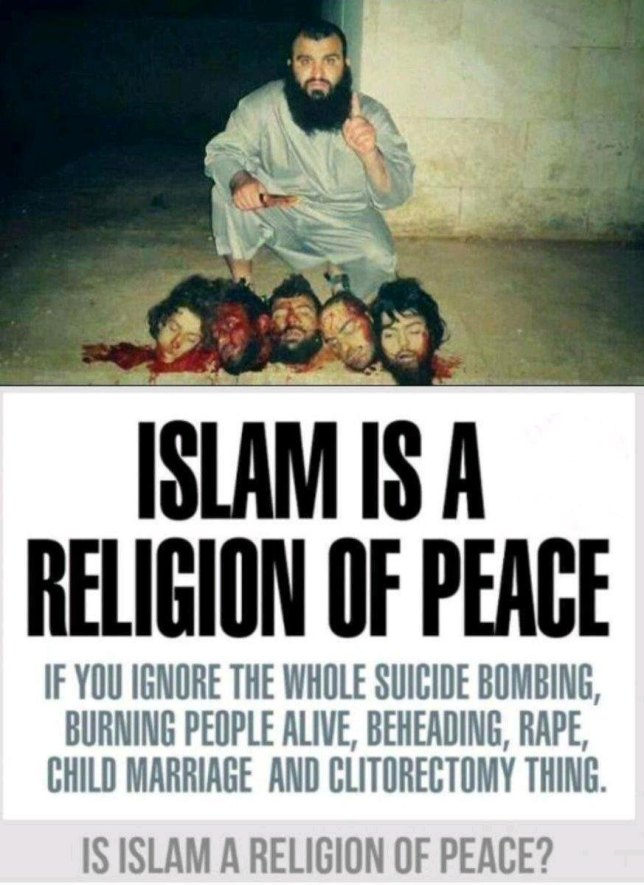 Muslim with severed heads evil
