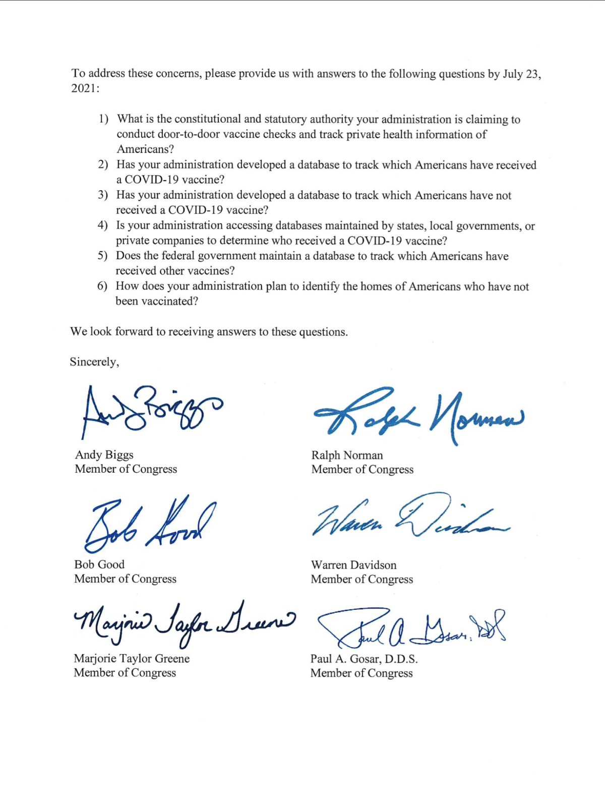 32 Members of Congress Raise Critical Privacy Questions; Demand Answers on Biden Door-to-Door Vaccine Checks (by July23rd)