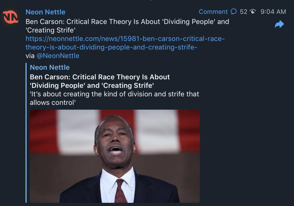 Ben Carson: Critical Race Theory Is About 'Dividing People' and 'CreatingStrife'
