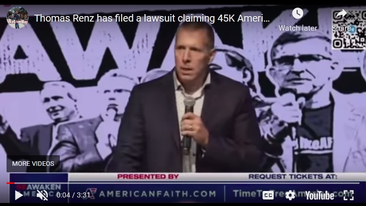 """""""Thomas Renz has filed a lawsuit claiming 45K Americans have died """" onYouTube"""
