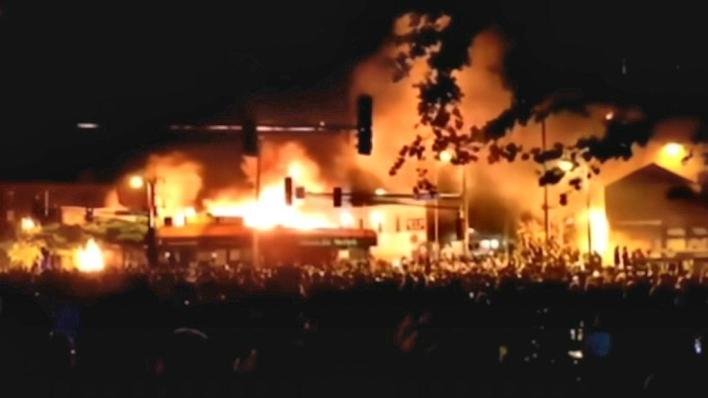 Antifa burning city sm print