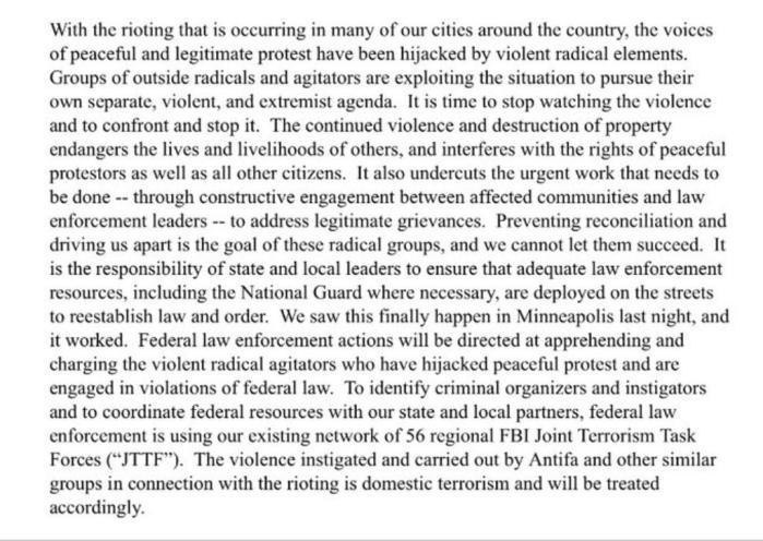 Bill Barr Statement about Antifa sm print
