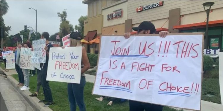 Frontline Health Care Workers Protest Mandatory Vaccination inCalifornia