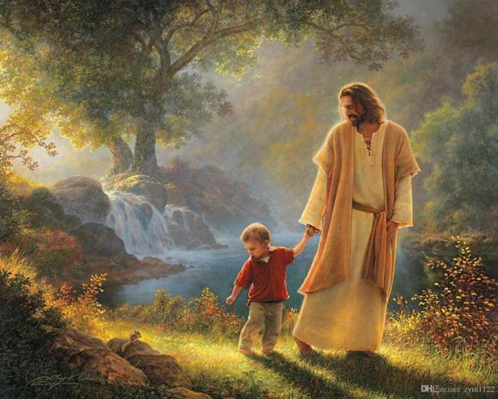 Jesus walking with child sm print 2