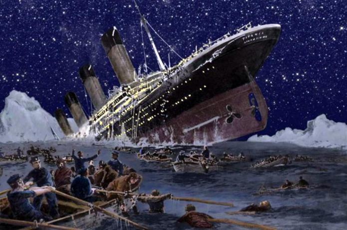 Titanic going down sm print