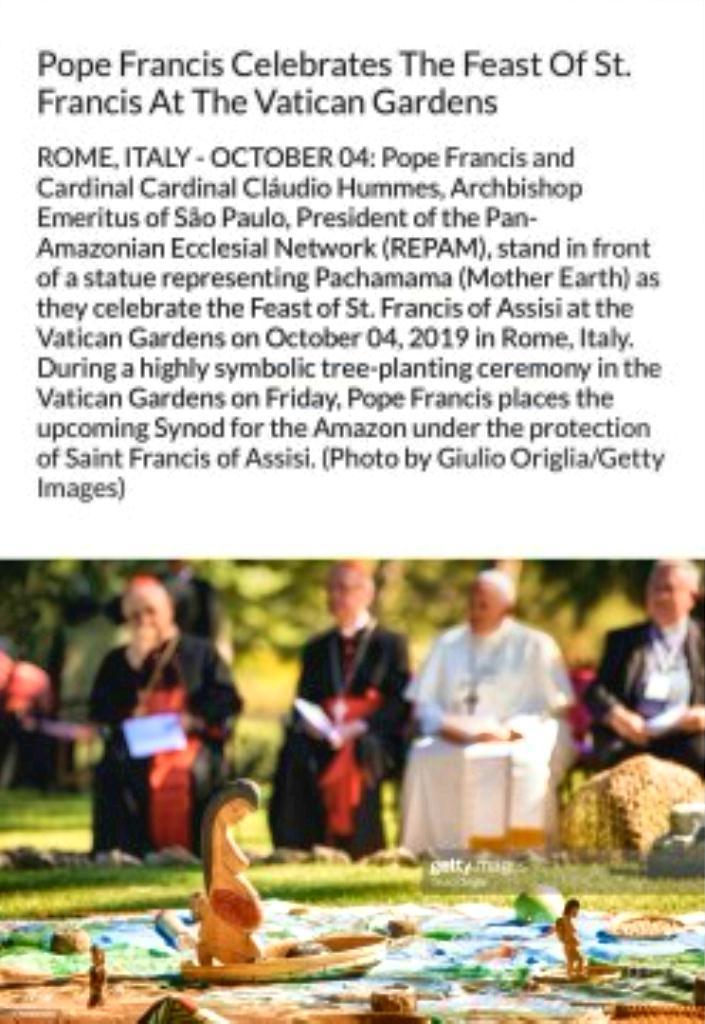 Bergoglio Pachamama at St Peters sm print