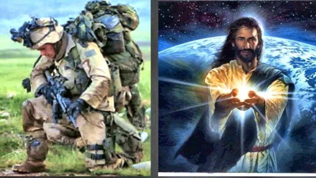 Jesus soldier kneels sm print