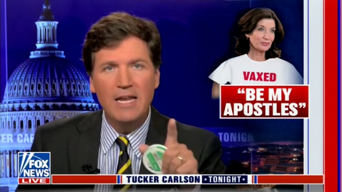 Tucker calls Gov Hochul 'New York archdiocese of the coronacult' after creepy churchlecture